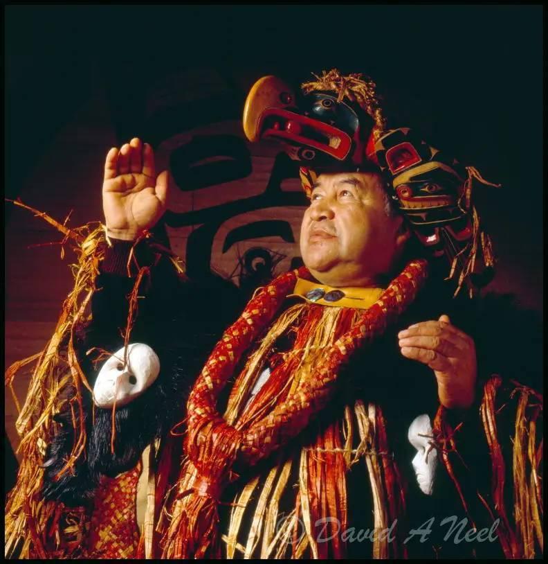 A Kwakwak'awakw chief dances as a Hamatsa.