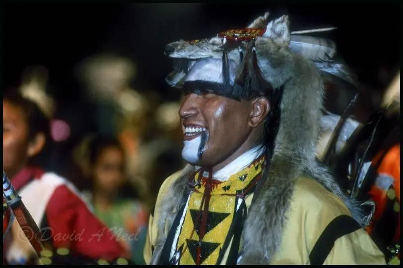 A Native American Traditional dancer enjoying the dancing.