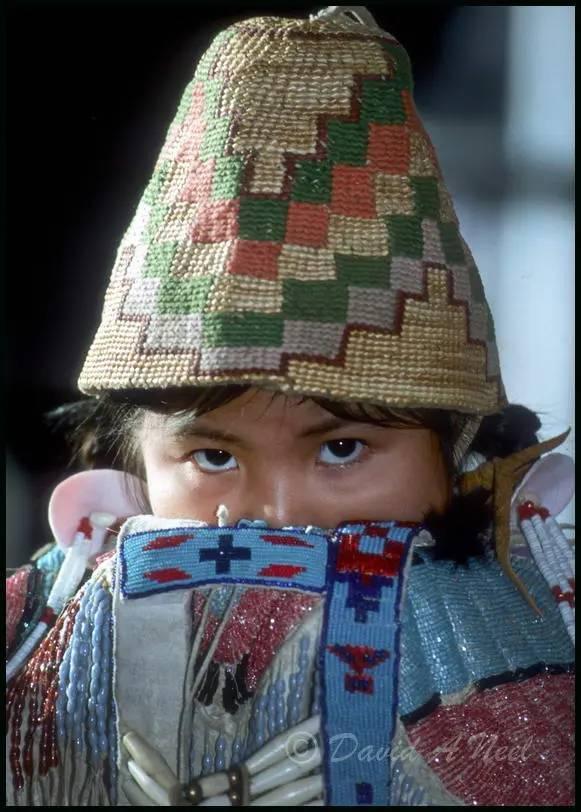 Lummi girl in traditional dress.