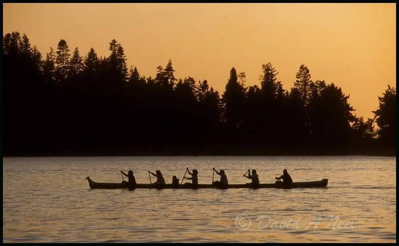 Coast Salish racing canoe at sunset.
