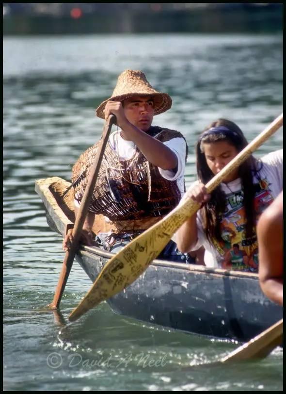 A Coast Salish dug-out canoe.