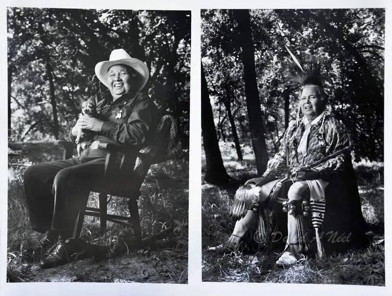 A Native American man and his dog, Oklahoma.