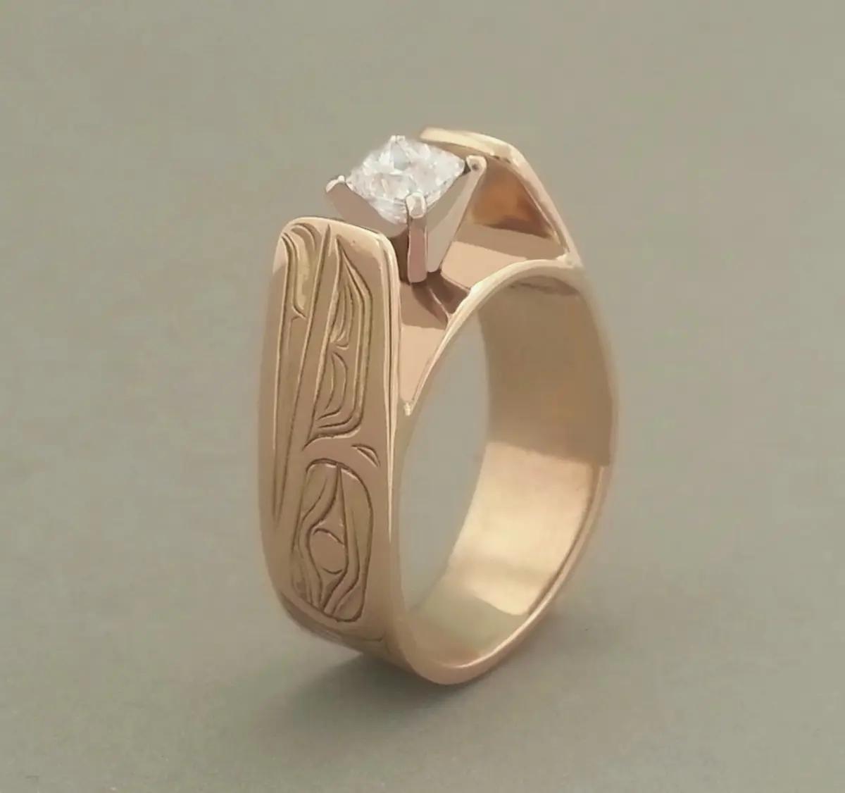Raven Princess Cut Diamond E-style Ring