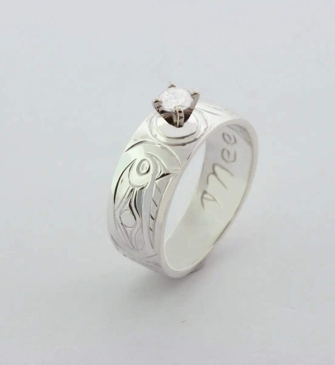 Orca Ring, Silver & Diamond