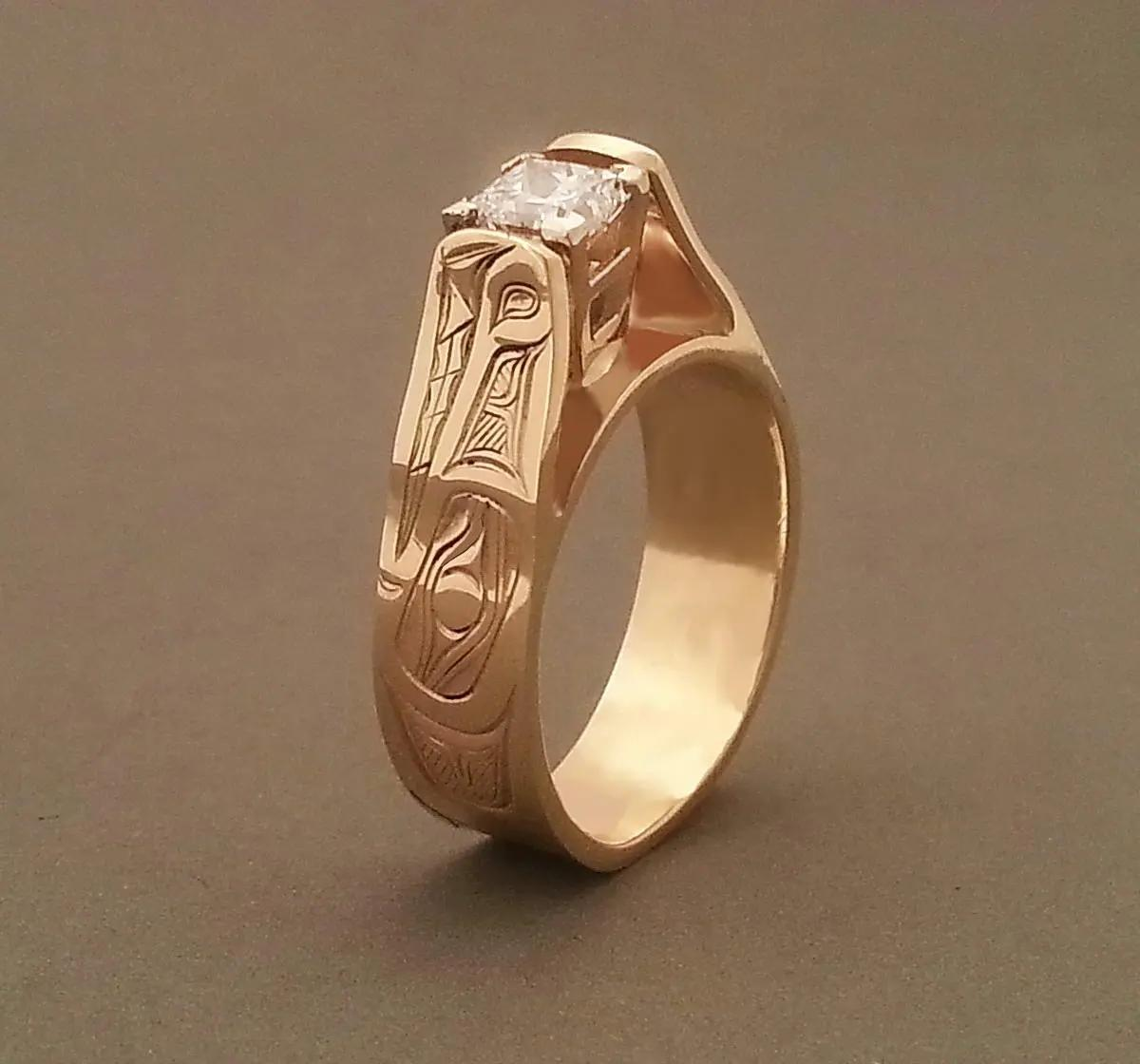 Wolf Diamond Gold Ring