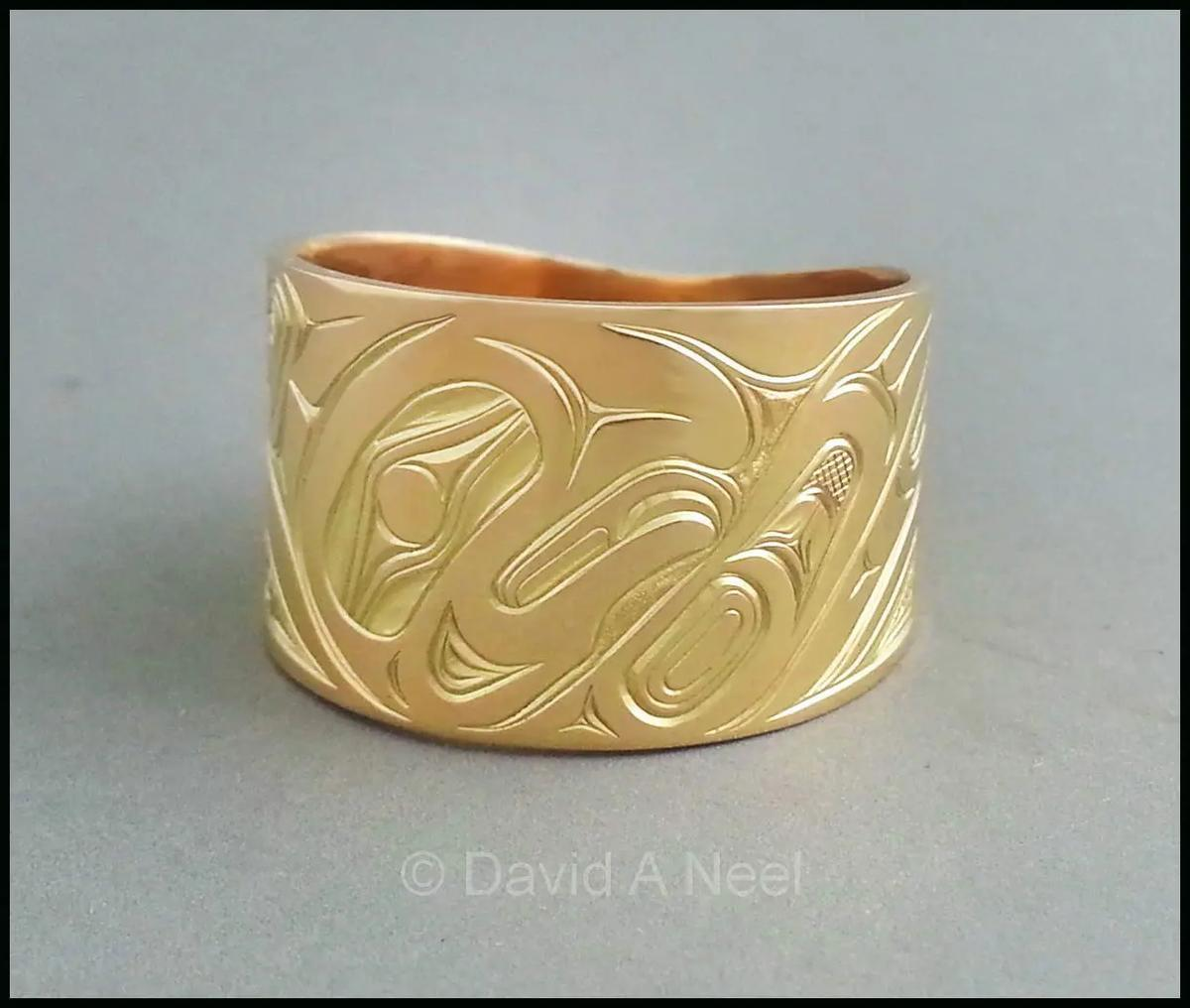 Salmon Wide Gold Band