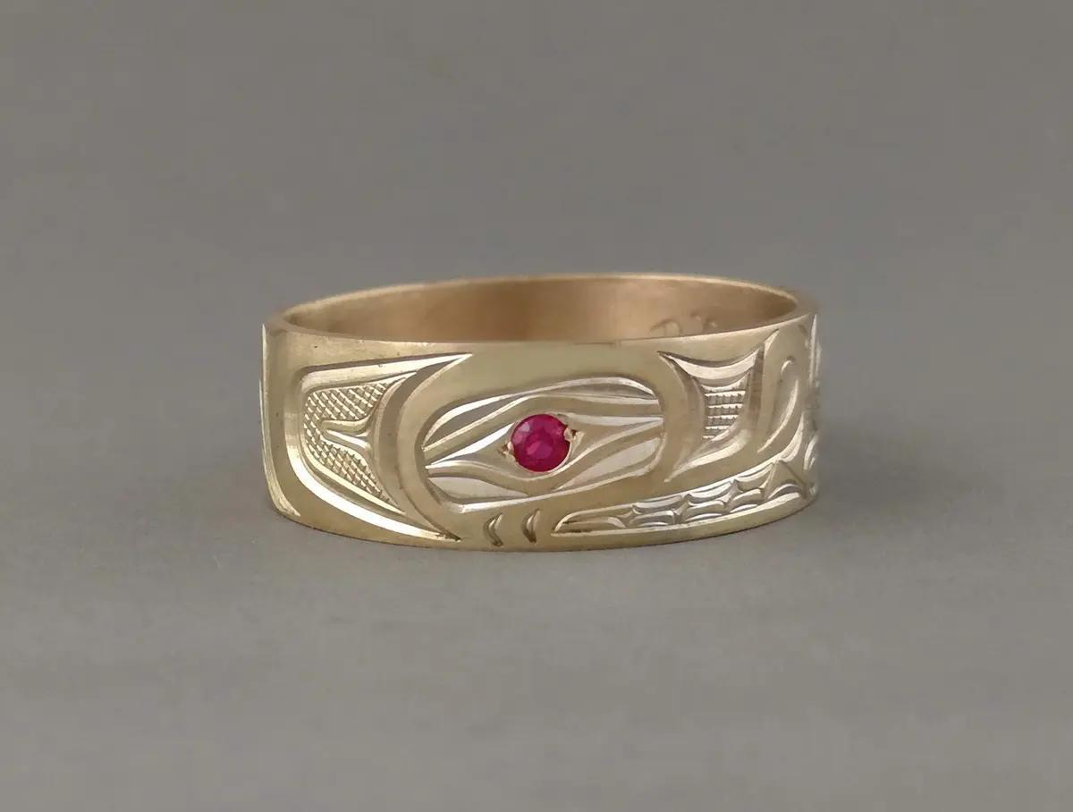 Wolf Ring, Gold & Ruby
