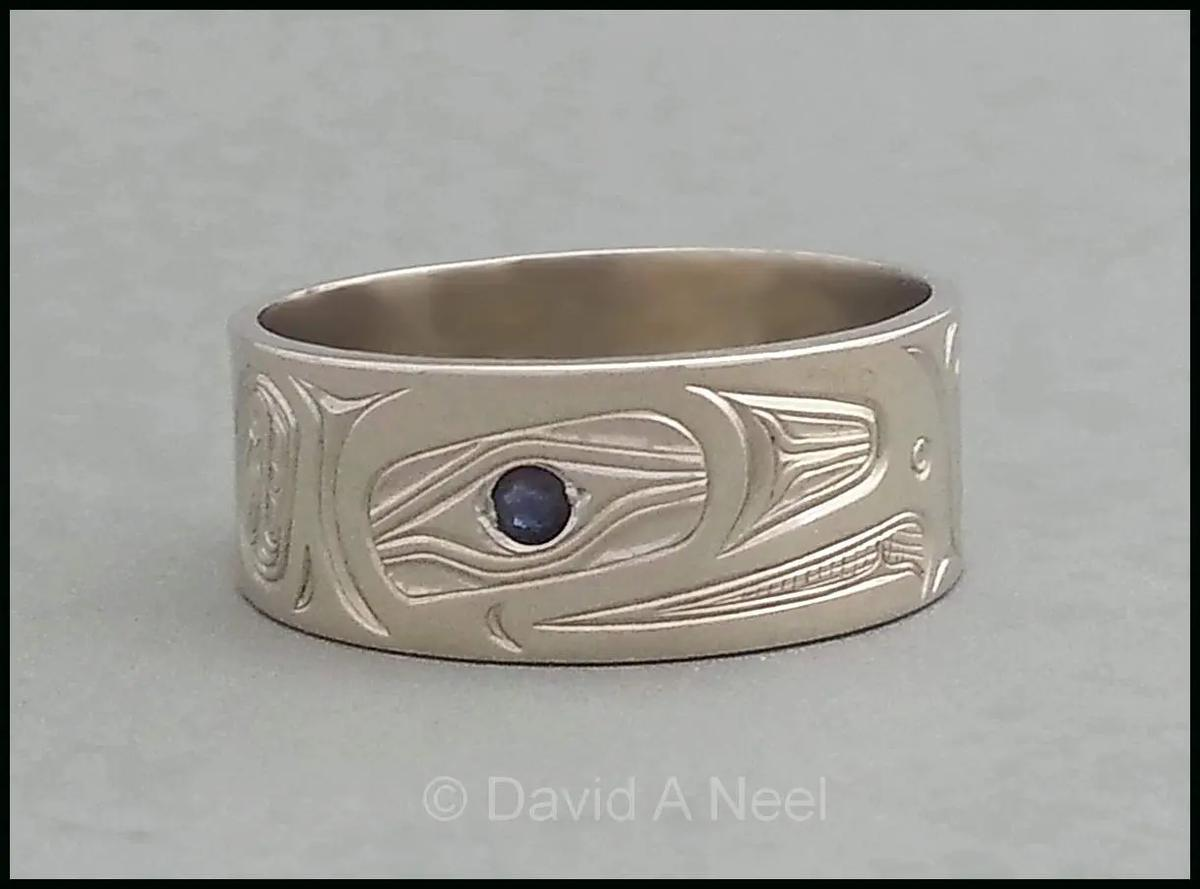 Eagle Ring, White Gold & Sapphire