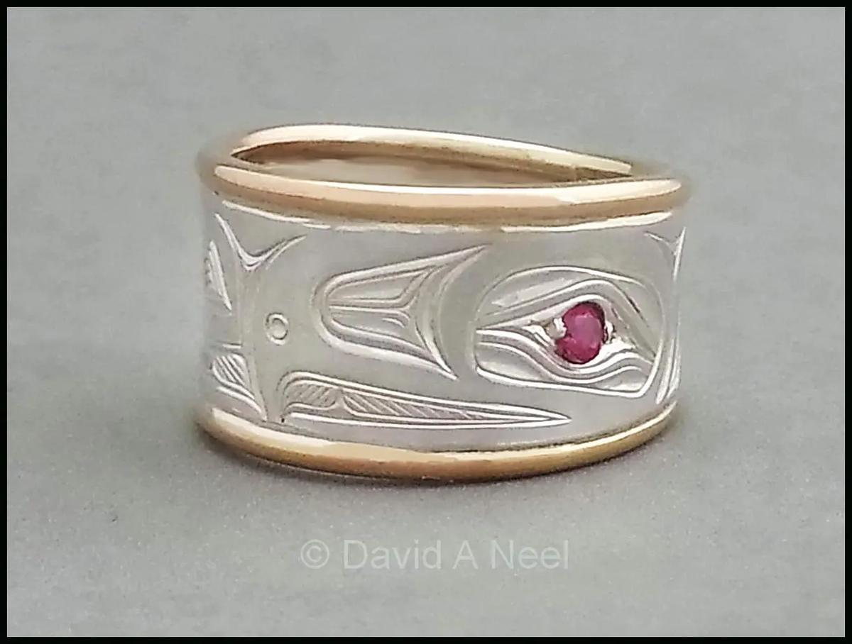 Eagle Silver, Gold & Ruby Ring