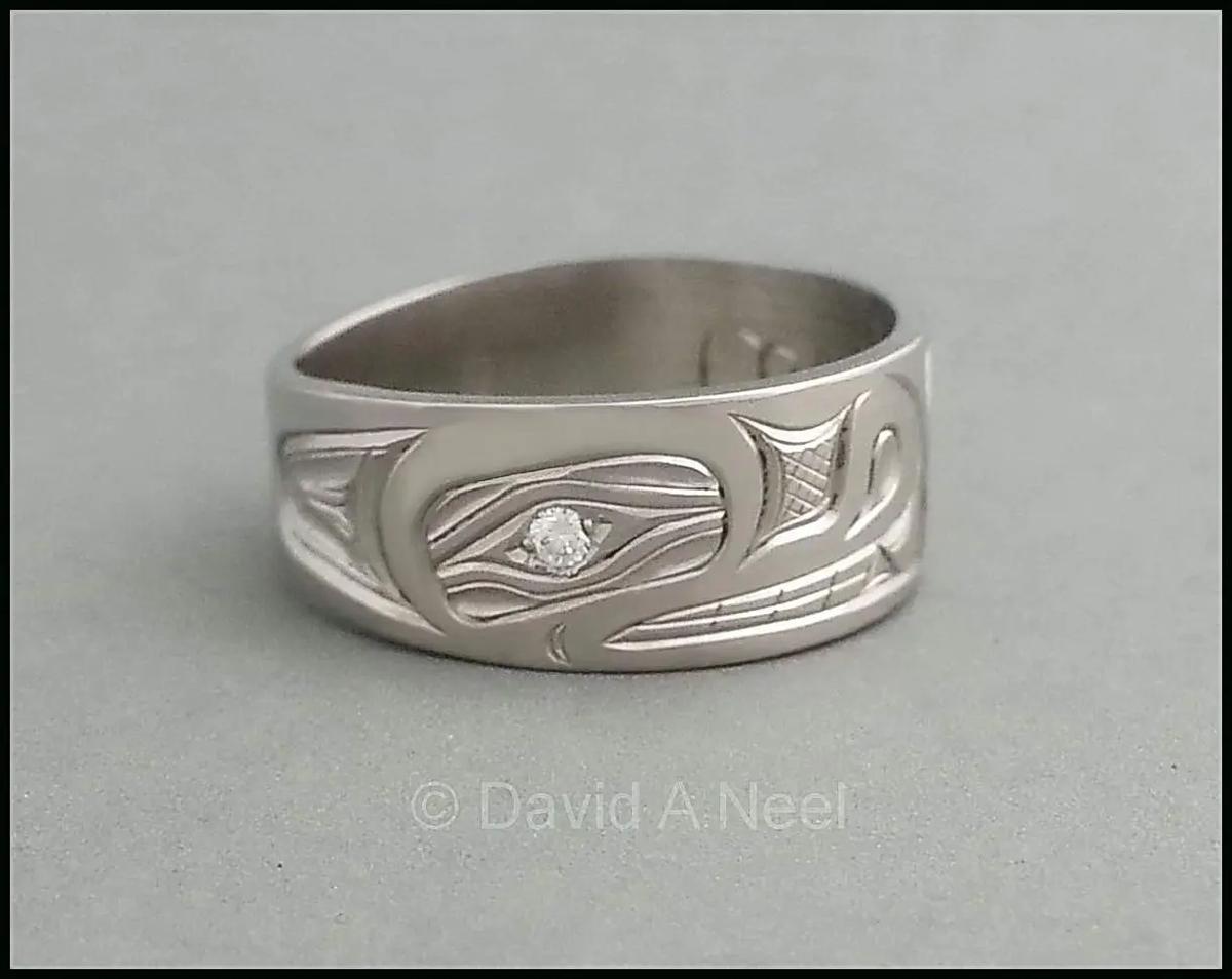 Wolf Ring, Platinum, Diamond Eye