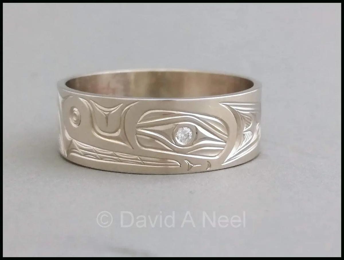 Wolf Ring, White Gold &  Diamond Eye