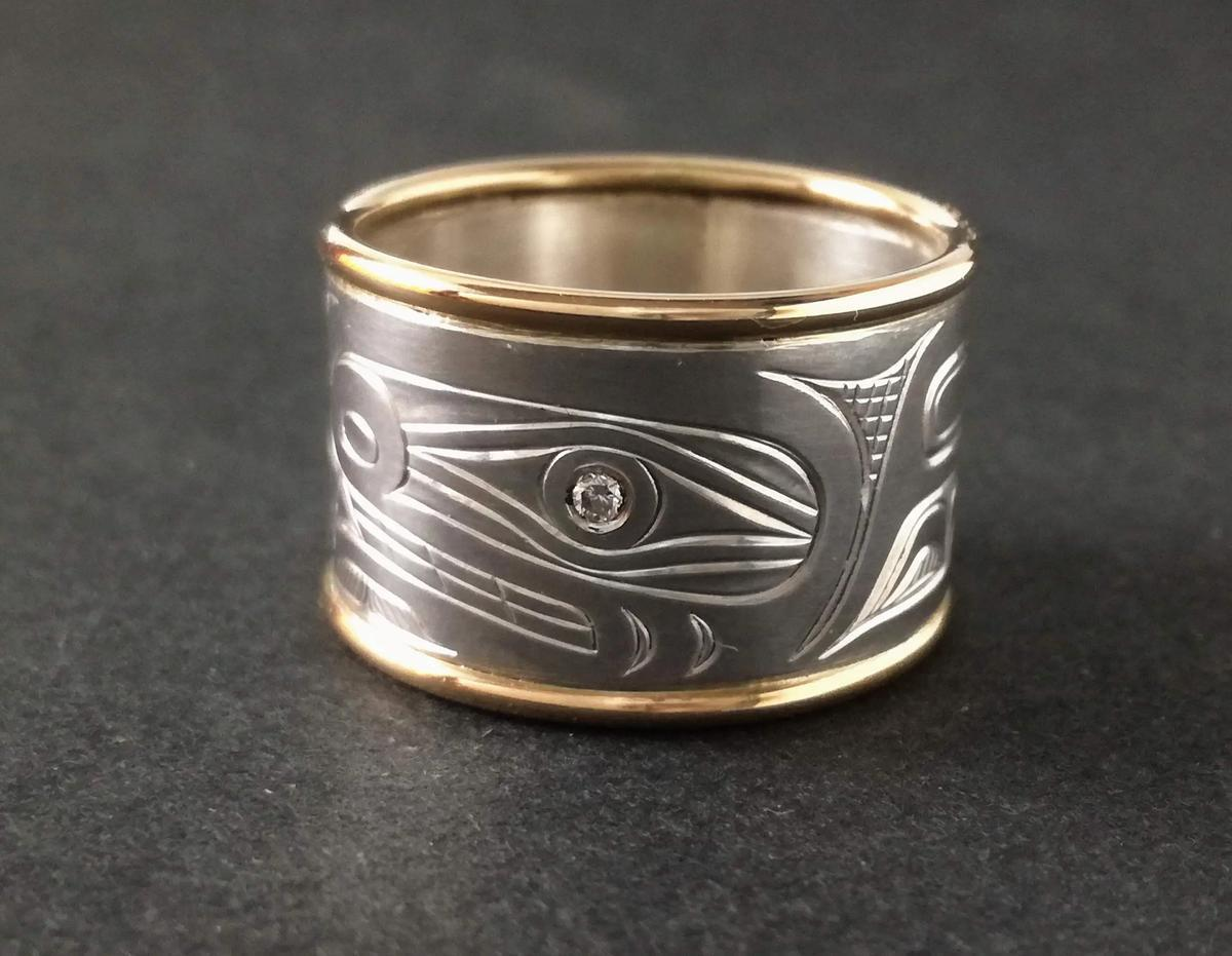 Orca Ring, Silver & Gold