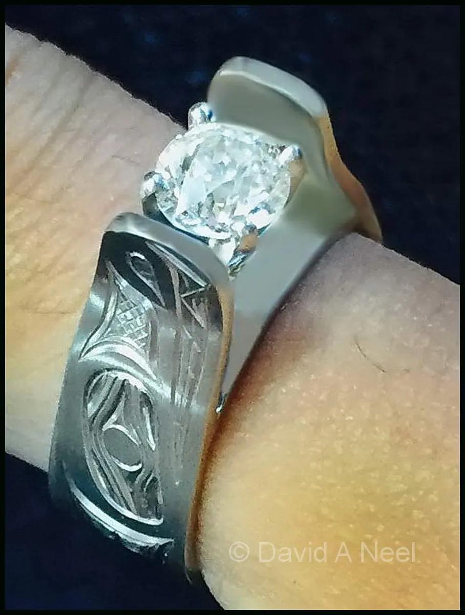 Wolf Platinum & Diamond Ring