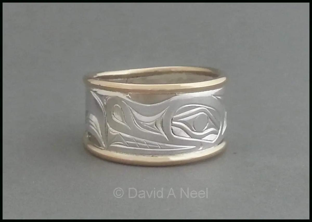 Wolf Silver & Gold Ring