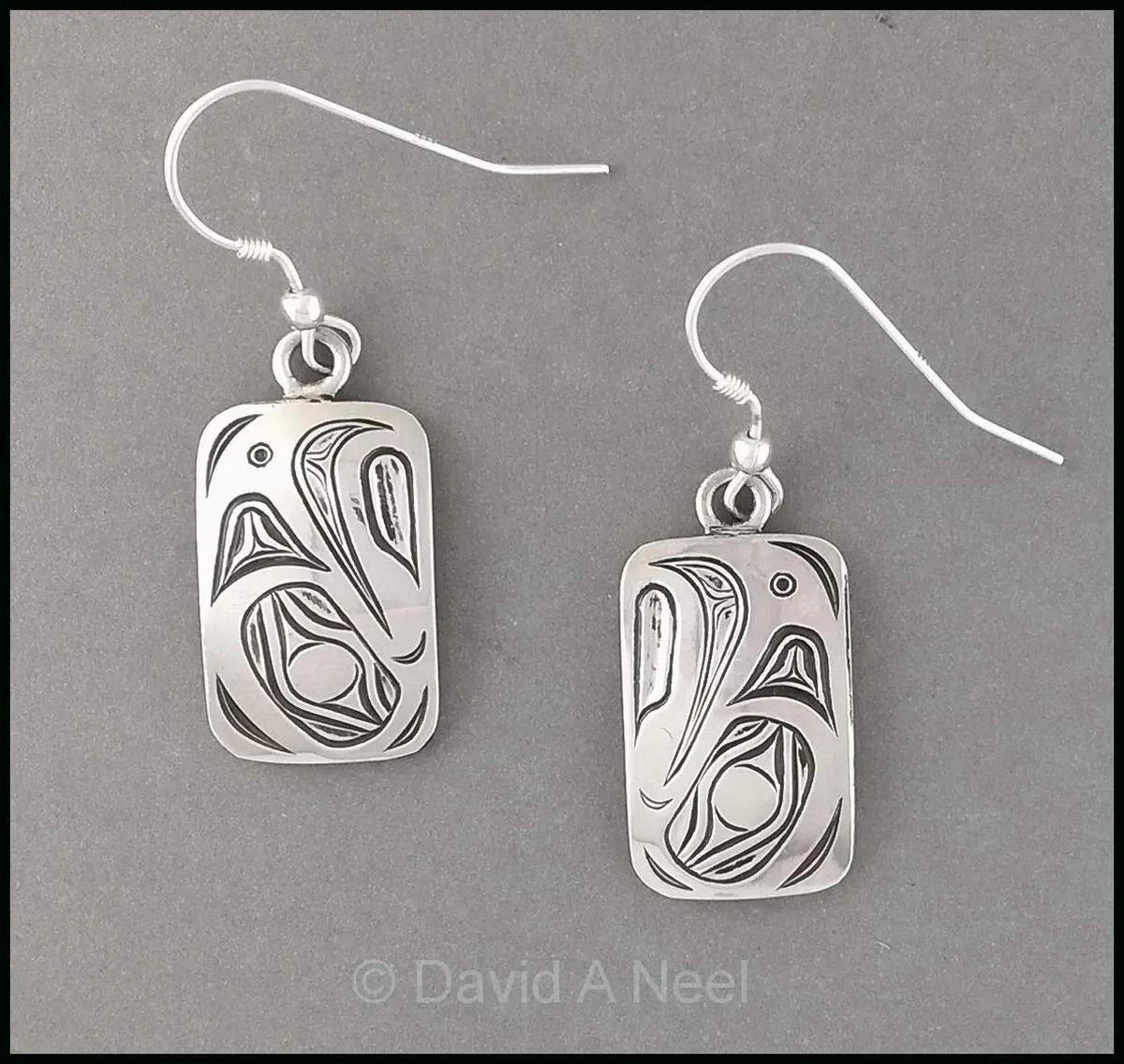 Eagle Rectangular Silver Earrings