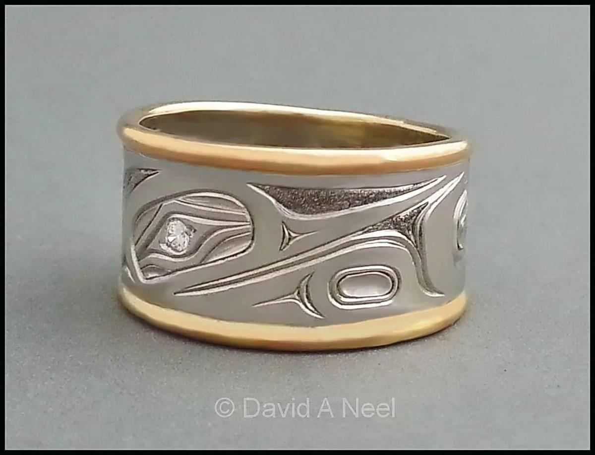 Hummingbird Ring, Platinum & Gold