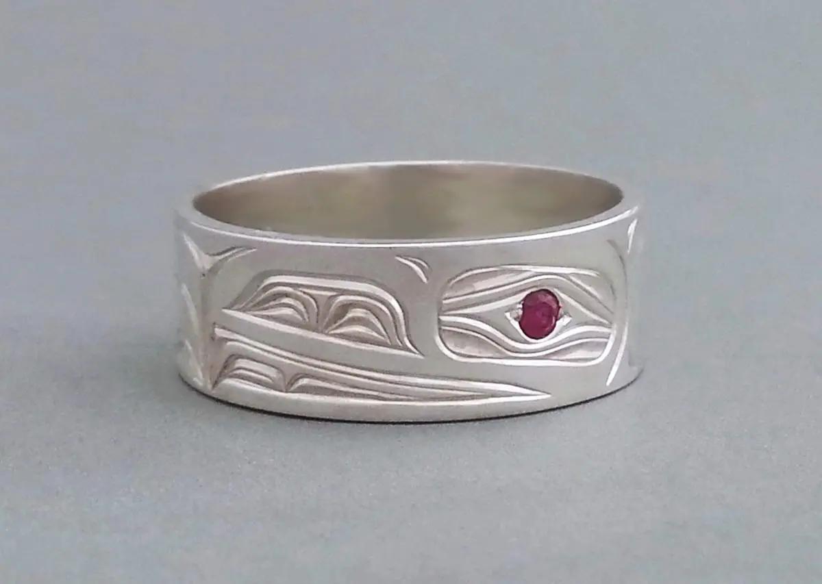 Raven Ring, Silver & Ruby