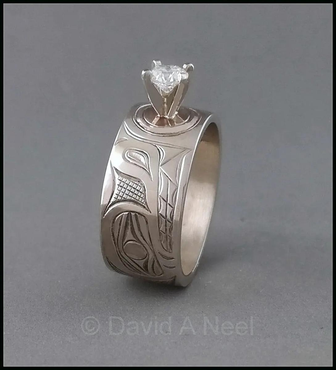 Wolf Ring, White Gold & Diamond
