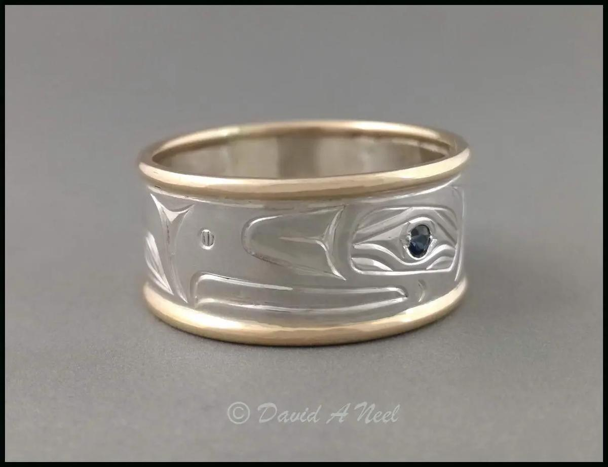 Eagle Silver, Gold & Sapphire Ring