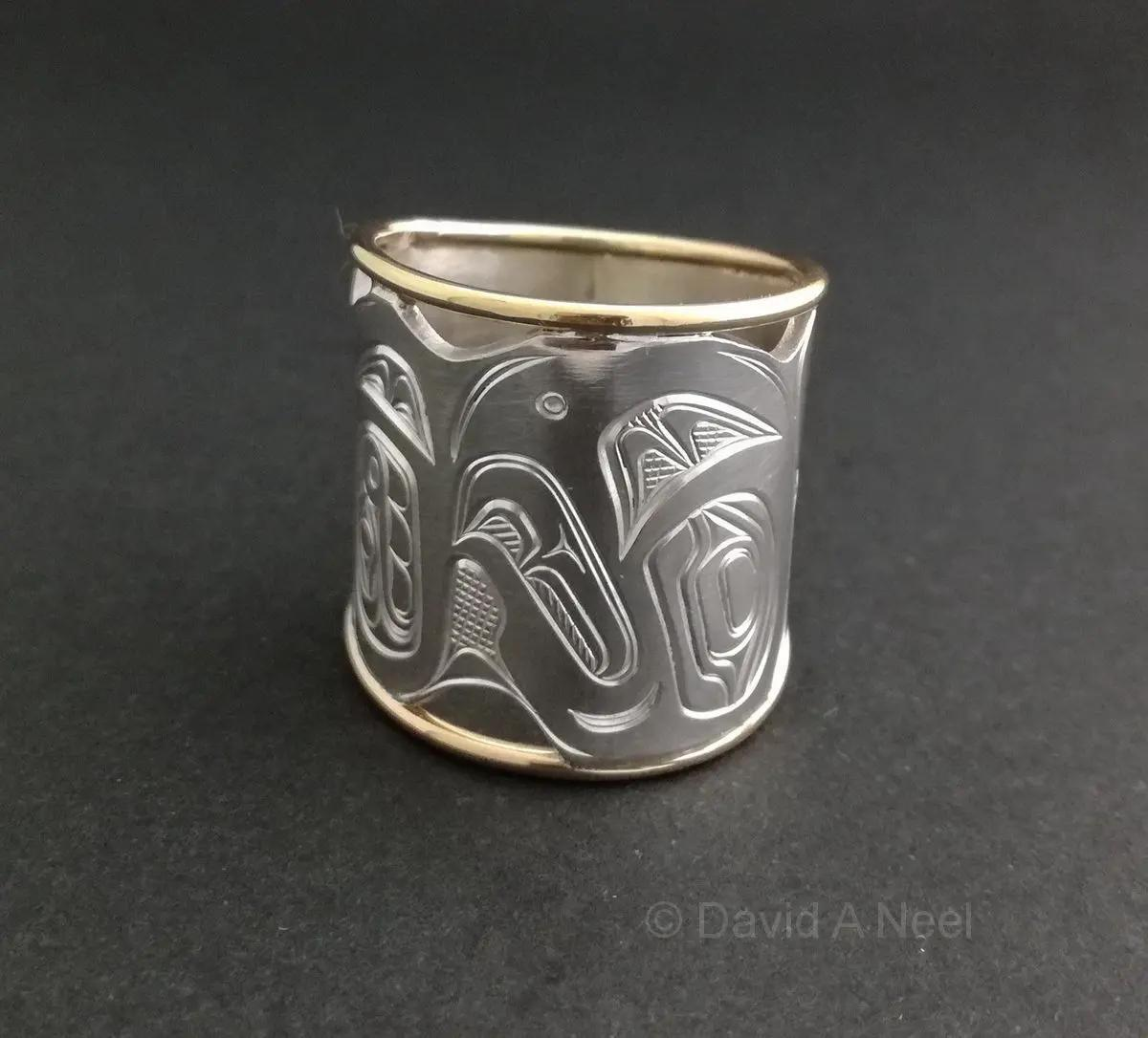 Eagle Wide Silver & Gold Ring