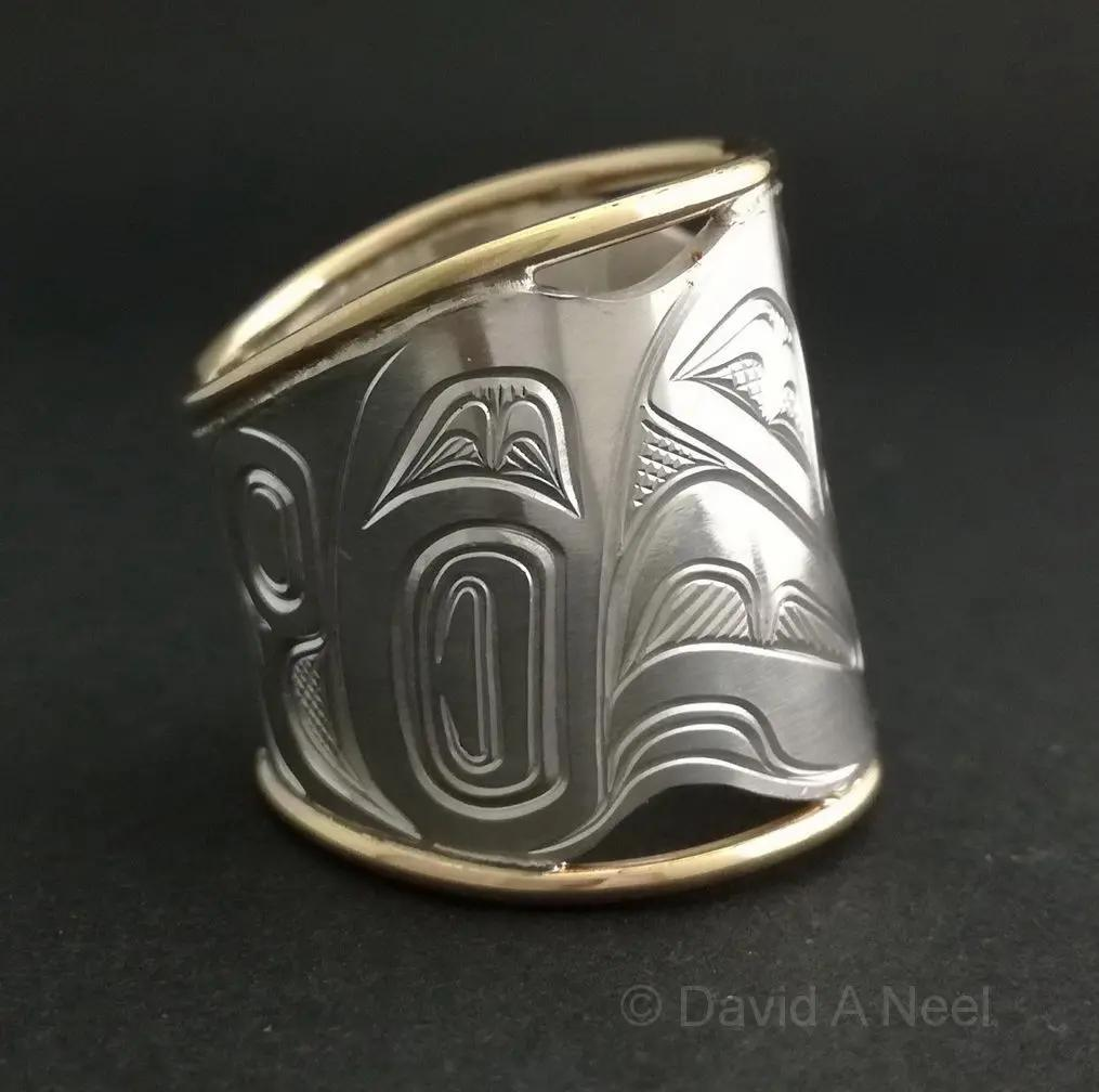Raven Wide silver & Gold Ring