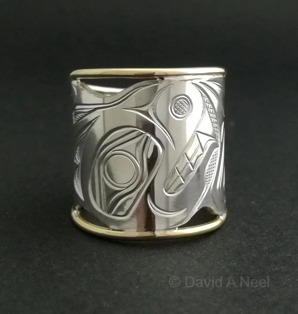 Bear Silver and Gold Ring