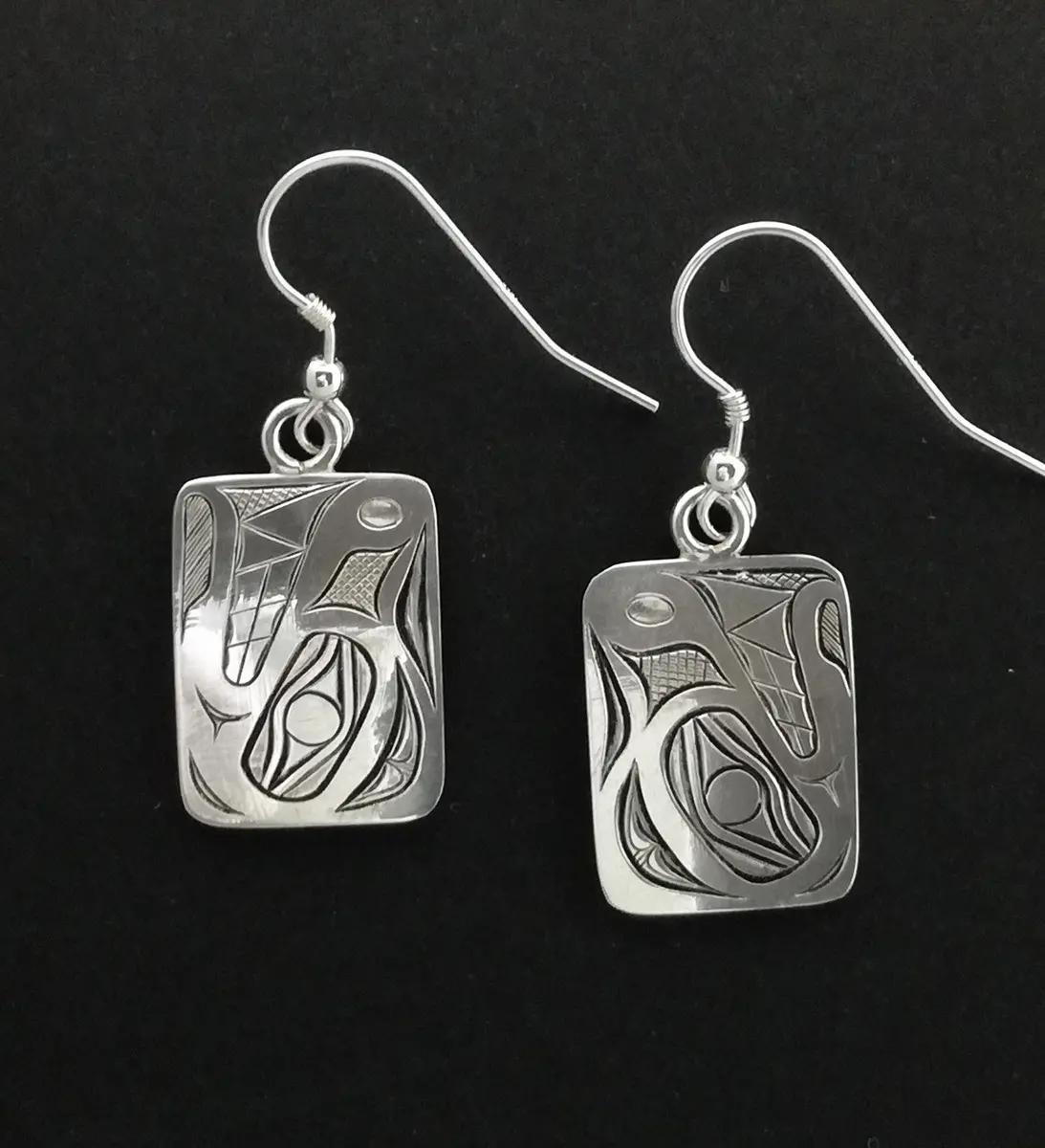 Bear Earrings, Silver