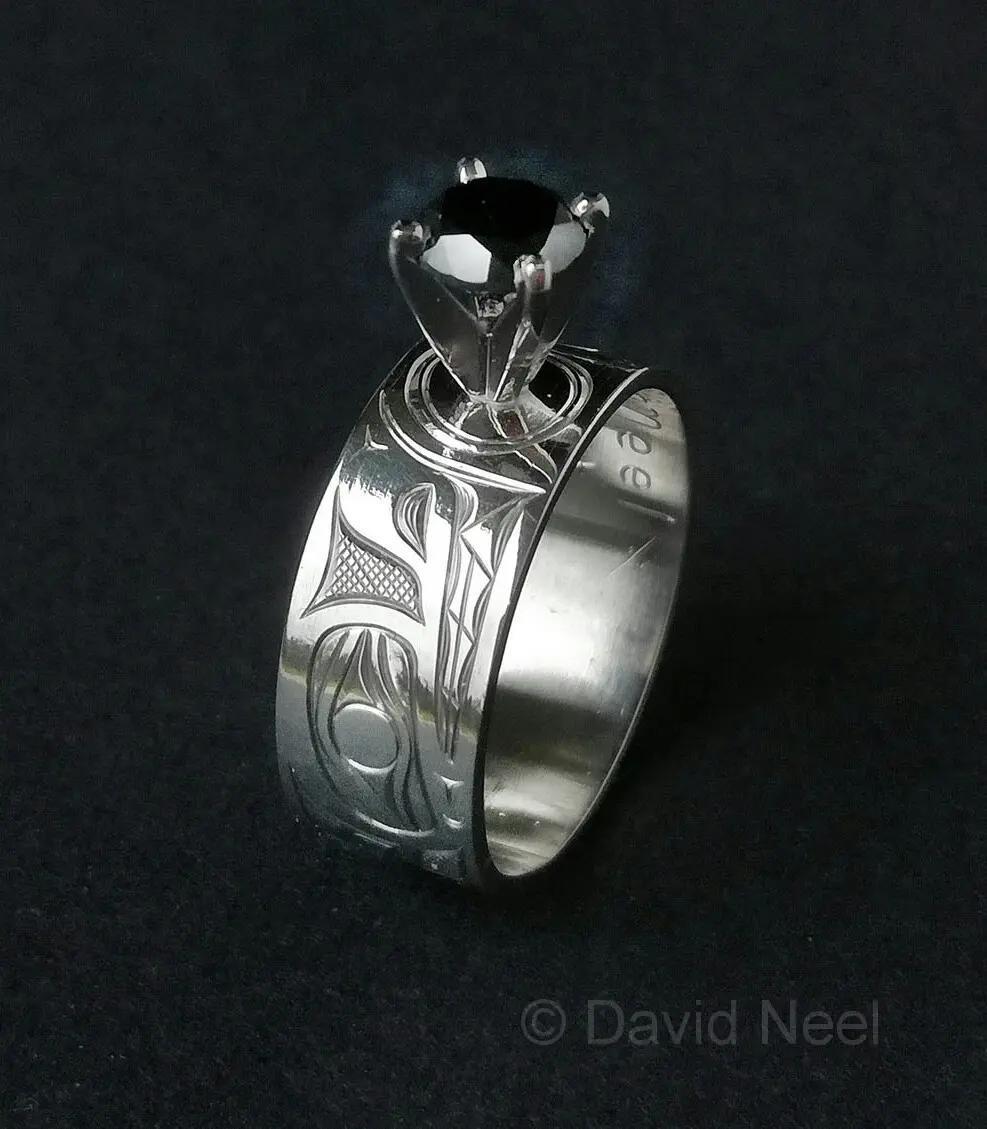 Wolf Ring, Platinum & Black Diamond