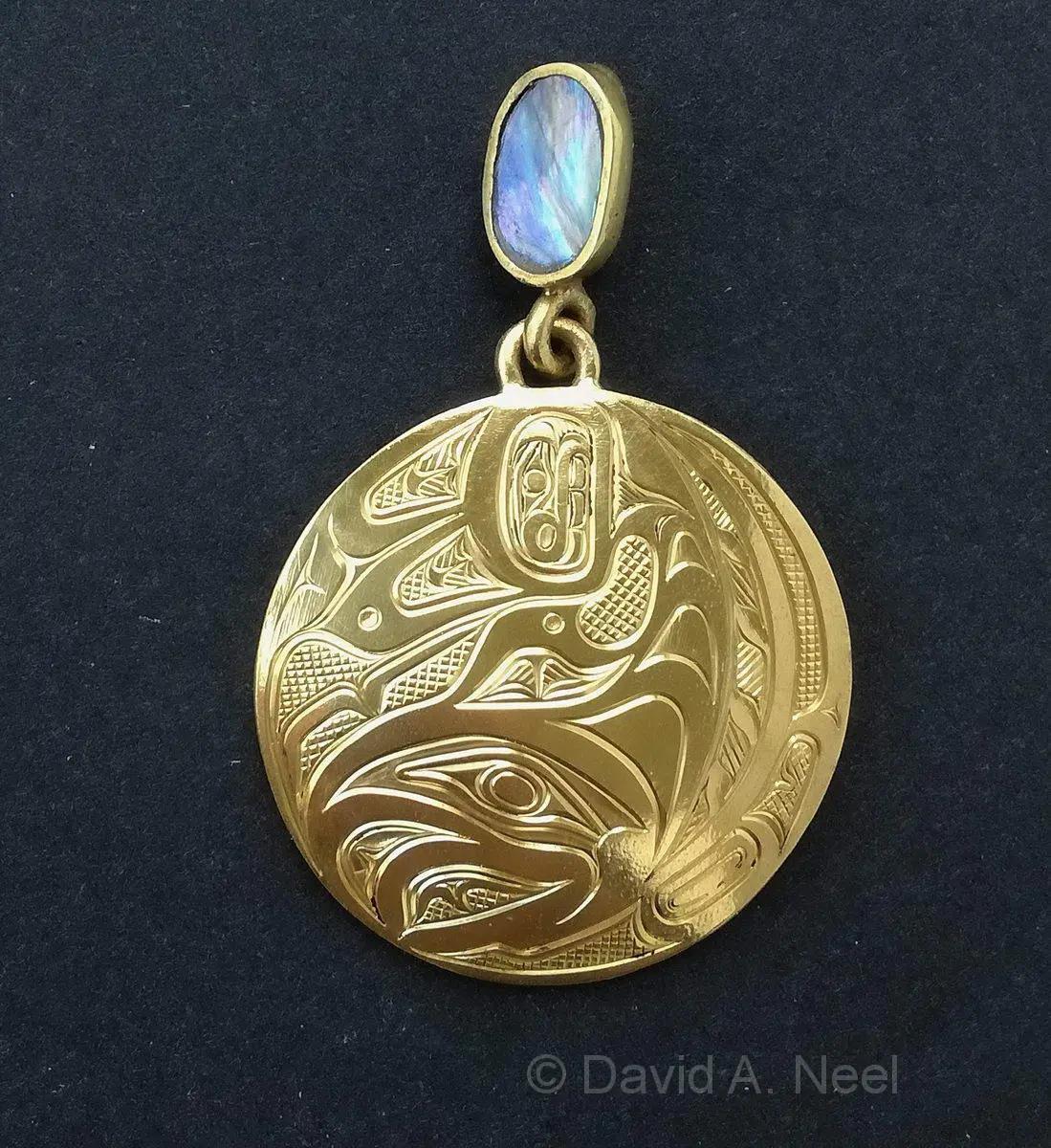 Salmon 23K Gold Pendant