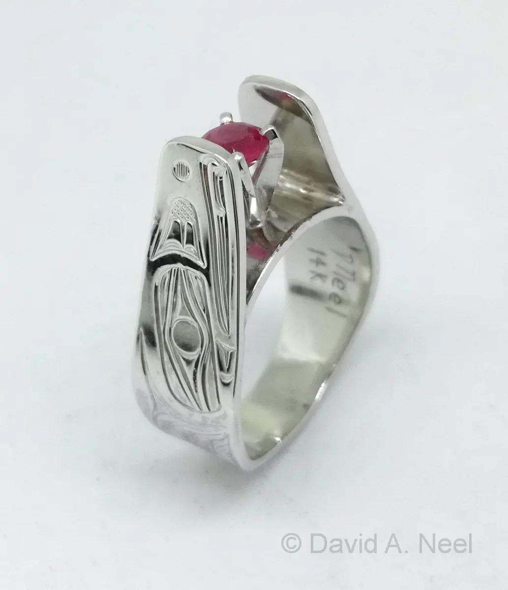 Raven Ring, White Gold & Ruby