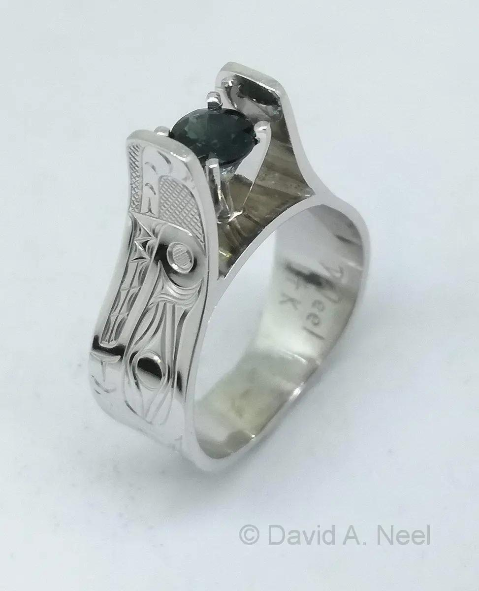 Sea Serpent Ring, White Gold & Sapphire