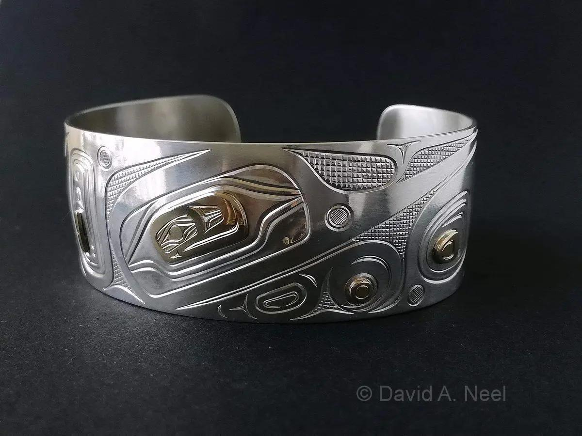 "Hummingbird 1"" Silver & Gold Bracelet"