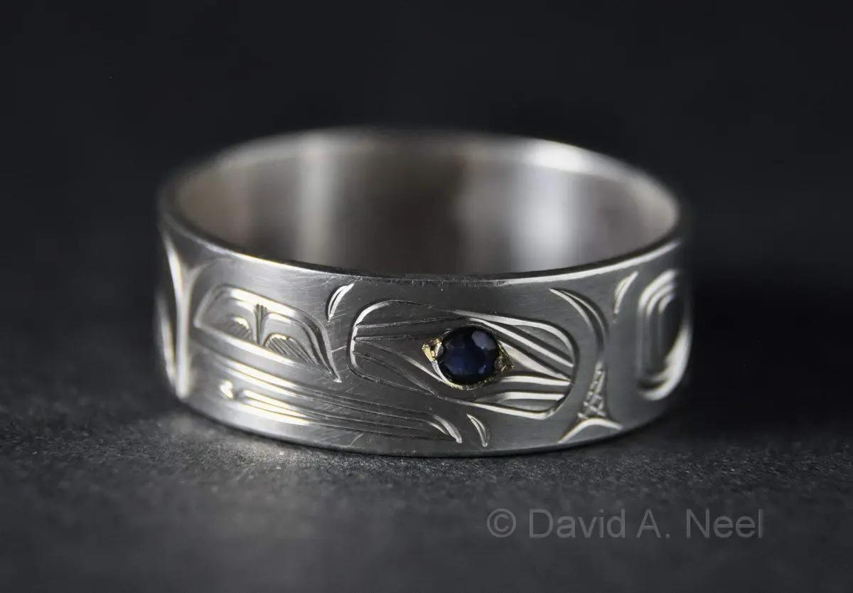 Raven Ring, Silver & Sapphire
