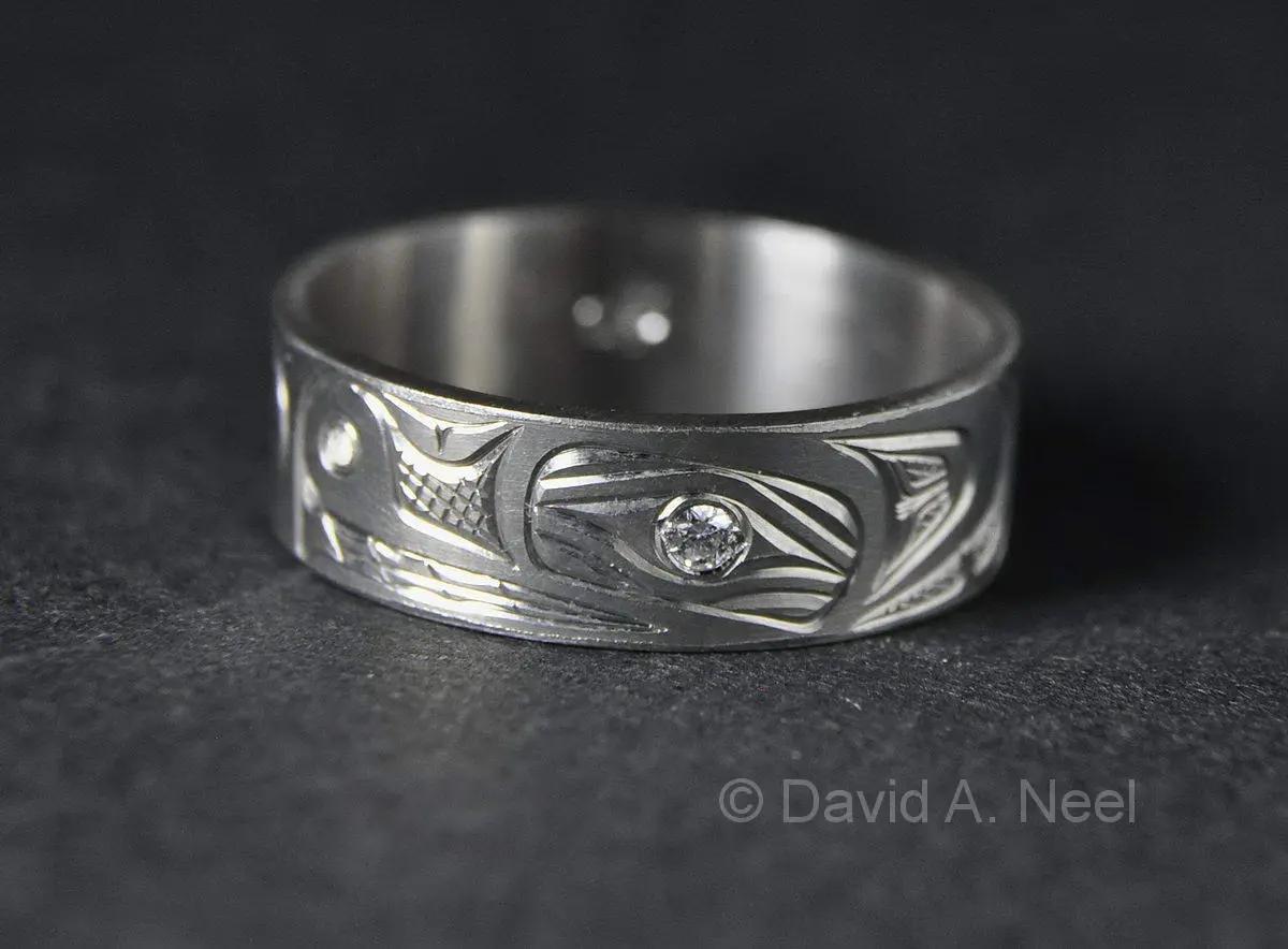 Bear Ring, Silver, Diamond Eye