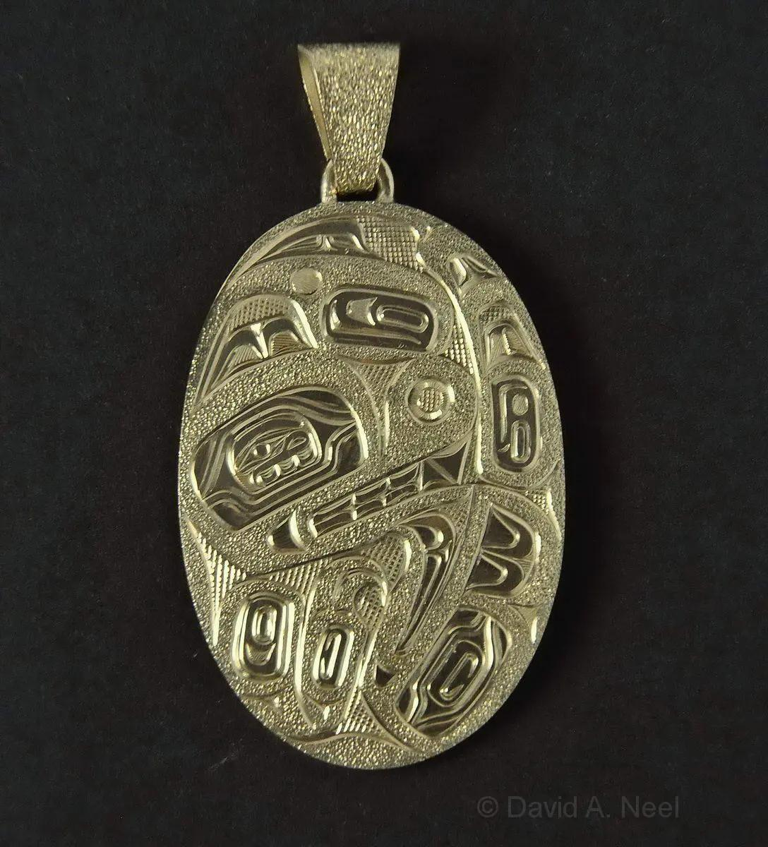 Bear & Raven Gold Pendant