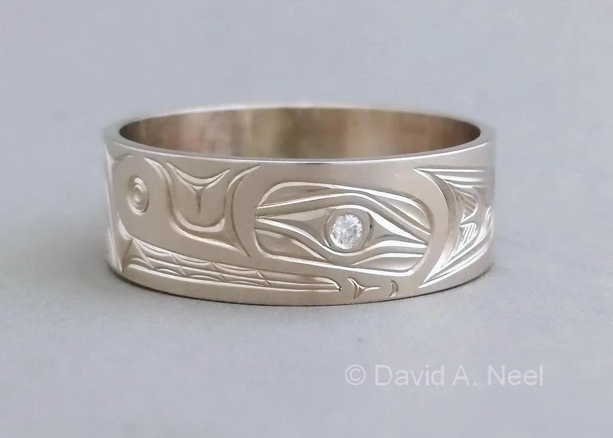 Bear White Gold Ring