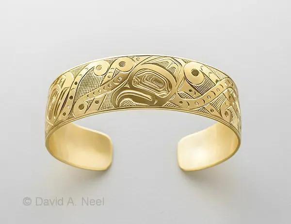 Octopus & Salmon Gold Bracelet
