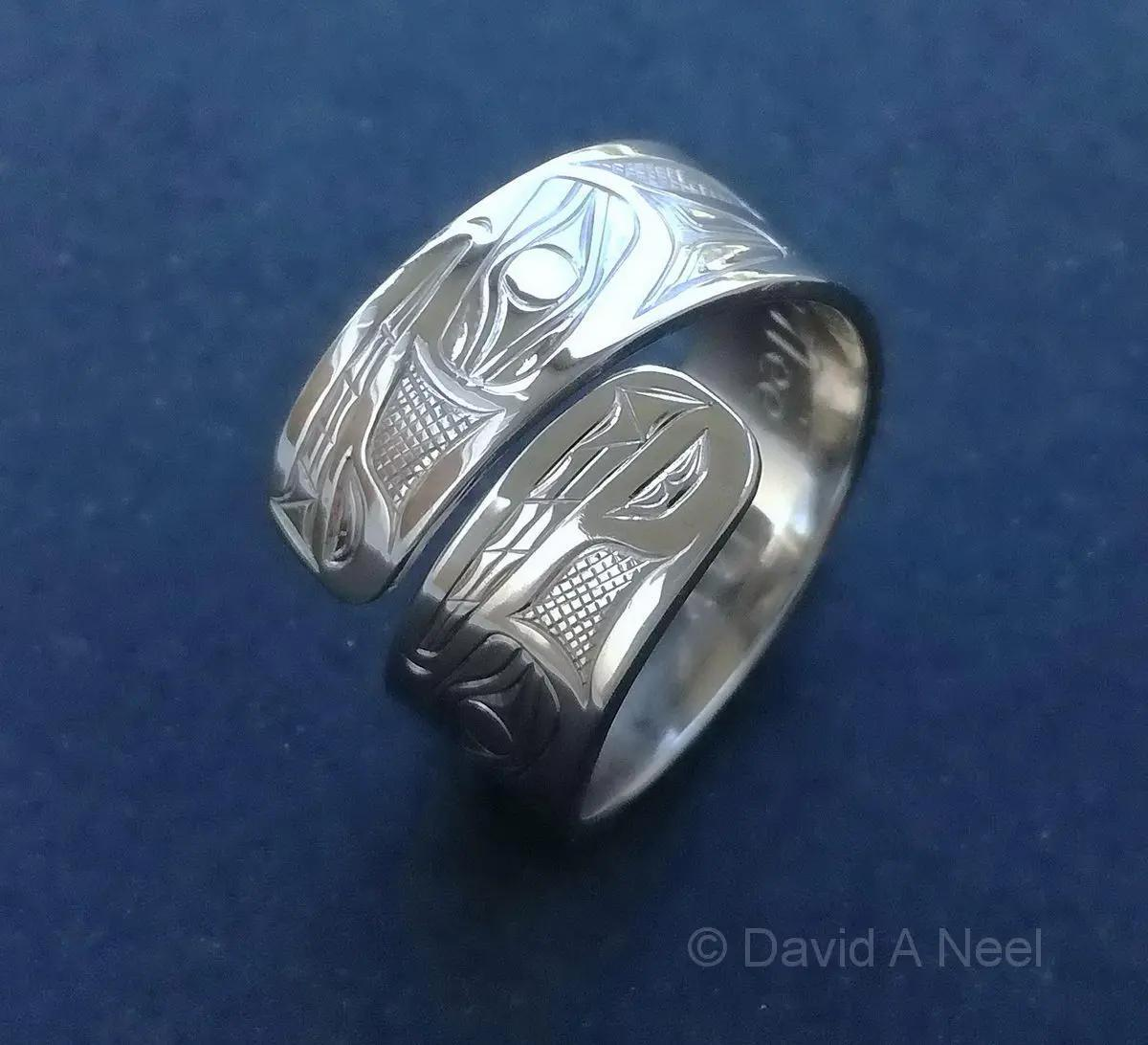 Wolf Wrap Ring, White Gold