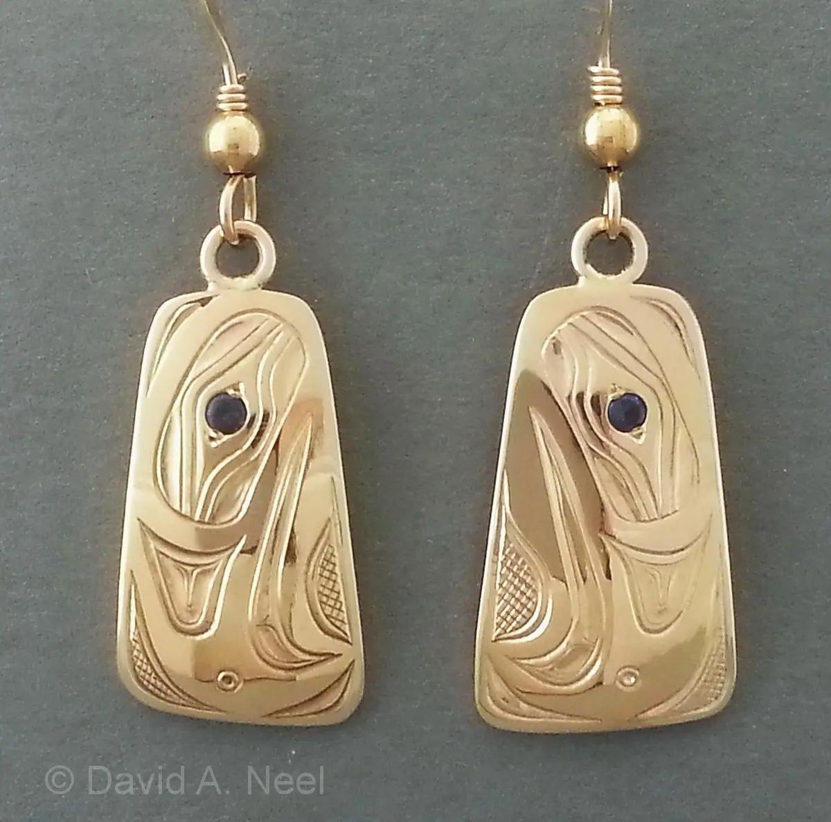 Eagle Gold & Sapphire Earrings