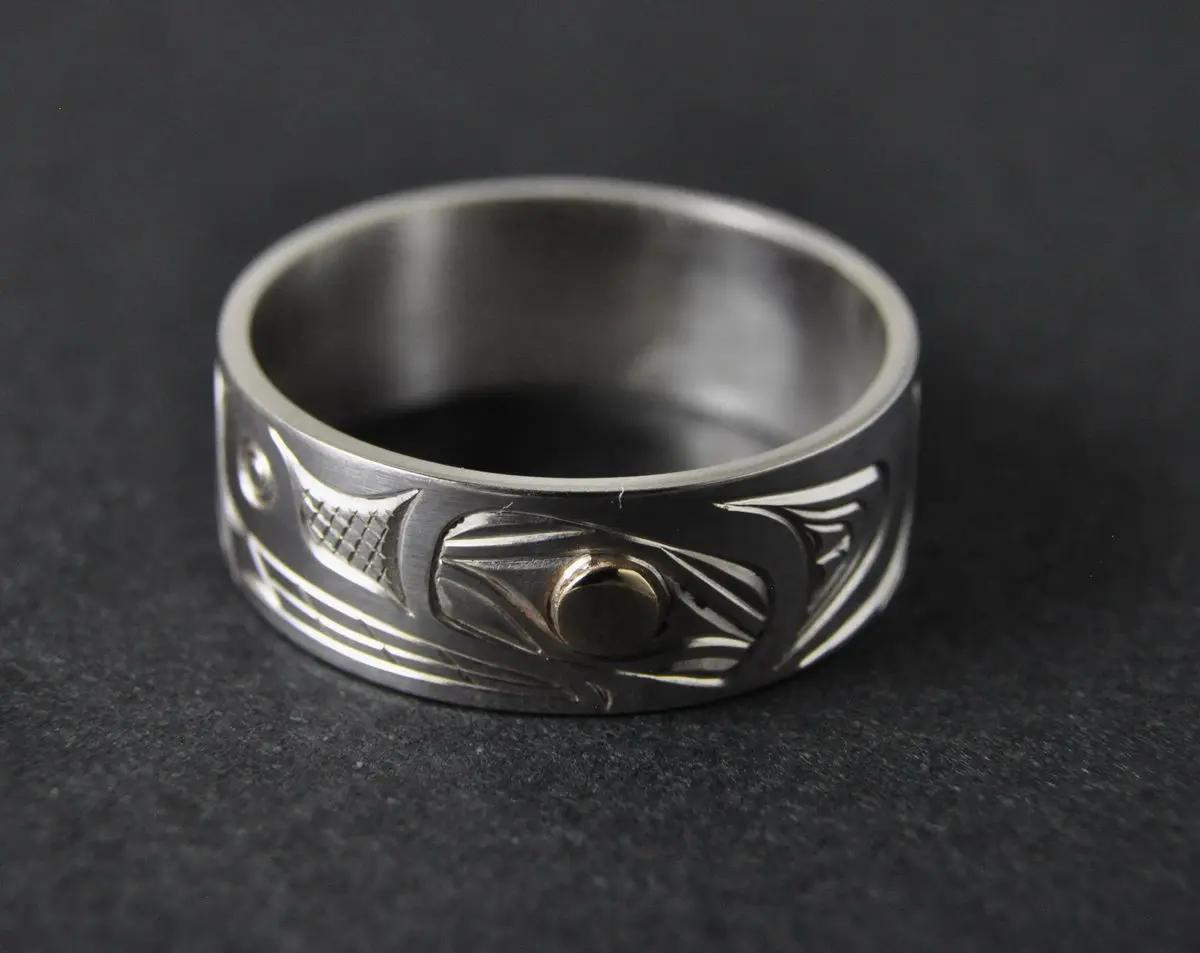 Bear Ring, Silver & Gold Eye
