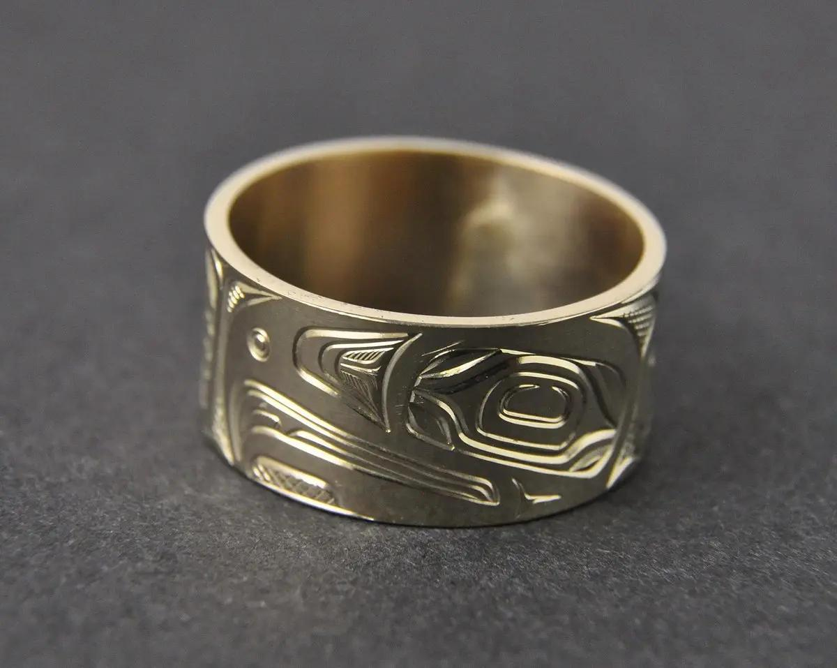 Eagle Wide Gold Ring