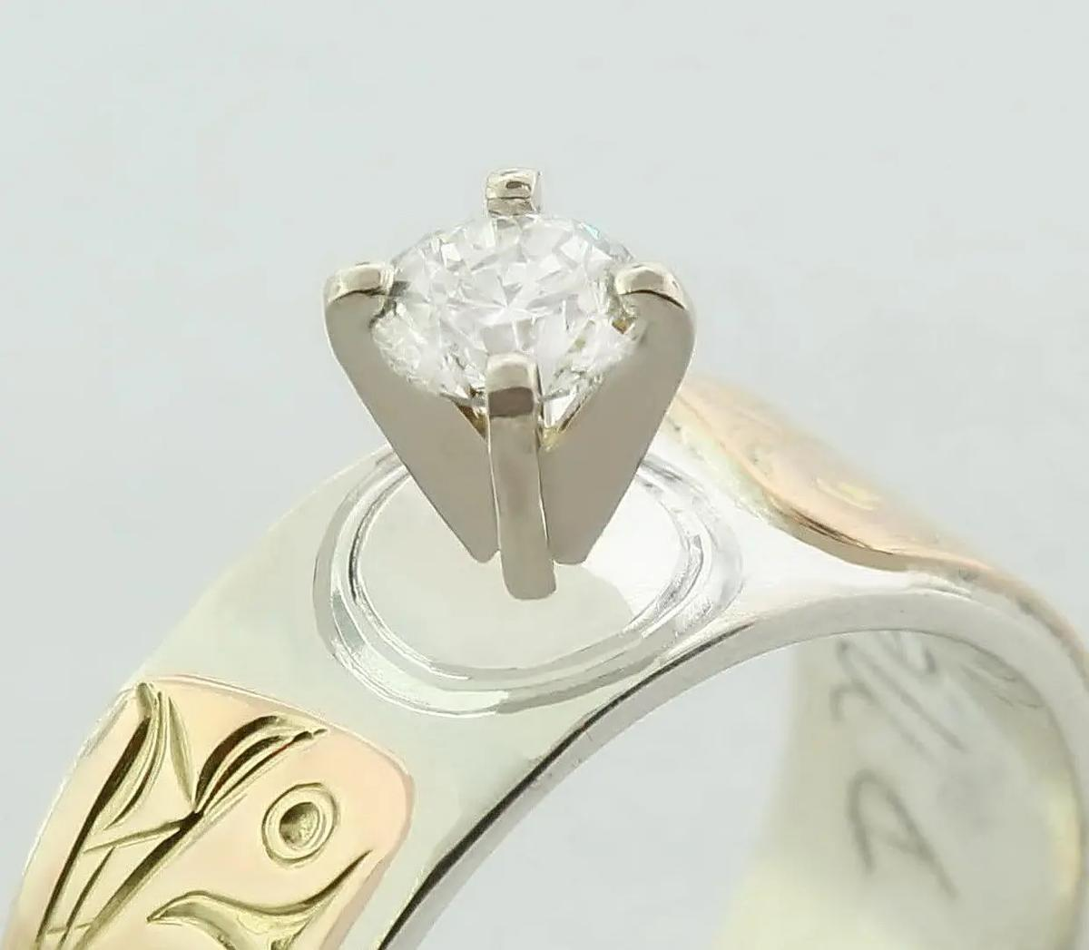 Wolf Diamond, Gold, Silver Ring
