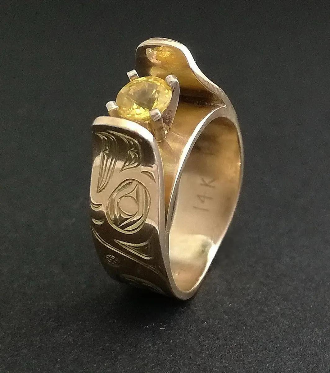 Eagle Gold & Sapphire Ring