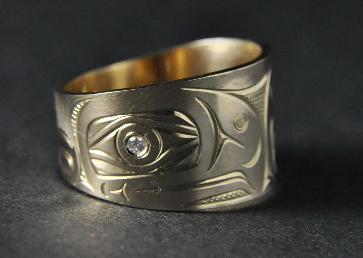 Salmon Wide Gold Ring