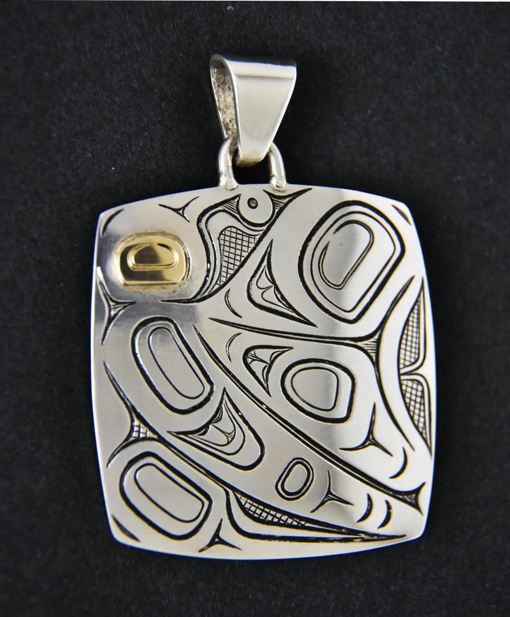 Butterfly Pendant, silver & gold