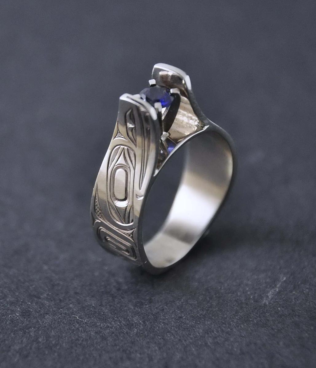 Raven White Gold & Sapphire Ring