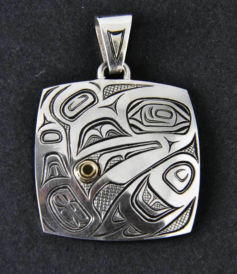 Raven Releasing Sun Silver & Gold Pendant