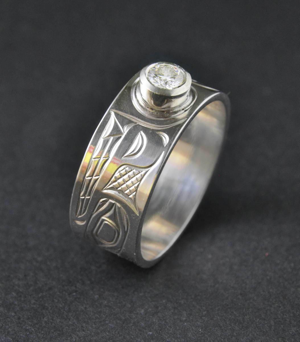 Wolf 1/4 C. Diamond & Silver Ring