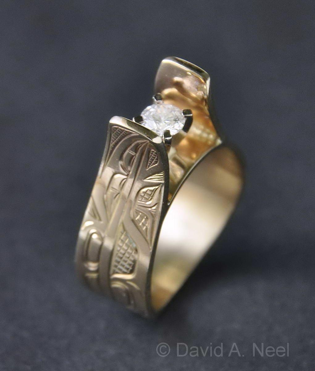 Eagle Feather Diamond & Gold Ring