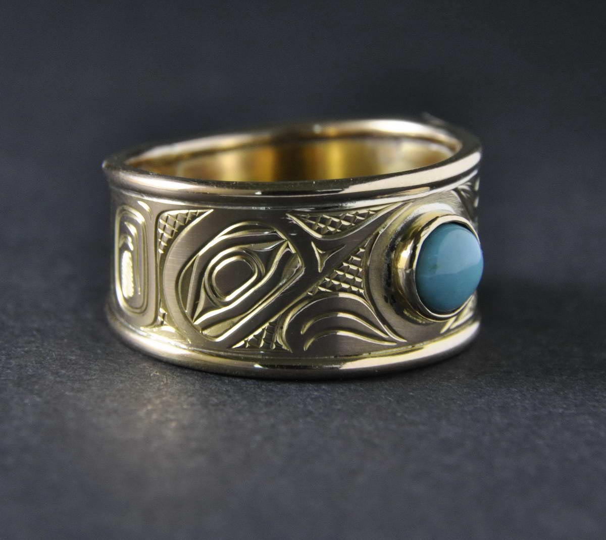 Hummingbird Gold & Turquoise Ring